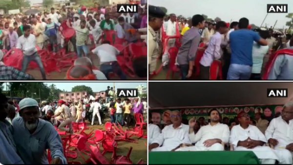 scuffle broke out between RJD workers at an election rally of Tejashwi Yadav in Simri Bakhtiyarpur