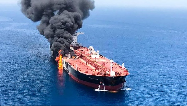 Two rockets struck an Iran oil tanker traveling through the Red Sea