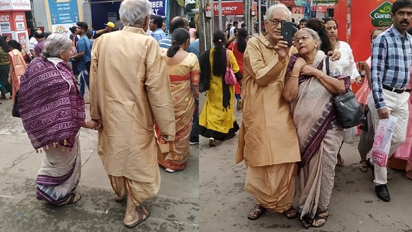 photo of elderly couple happily pandal hopping viral on social media