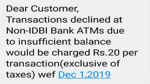 Big News: ATM rule change from 1st December 2019, IDBI Bank change Cash Transaction rule From other Bank ATM, Impose Charge.