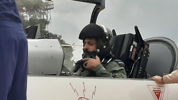 Air Chief Marshal Rakesh Kumar Singh Bhadauria flew in under development HTT 40 trainer aircraft