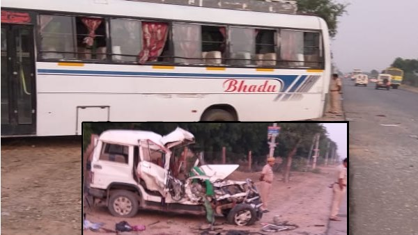 seven people died in bikaner Bus jeep accident