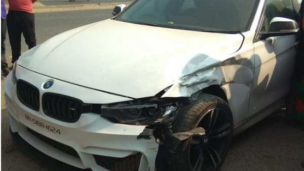 Tej pratap yadav bmw car accident in varanasi