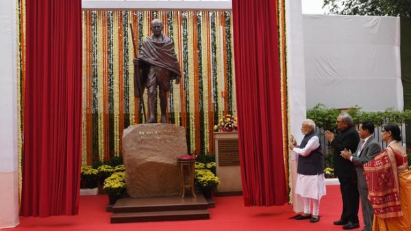 PM Narendra Modi unveiled a statue of Mahatma Gandhi at CAG India office