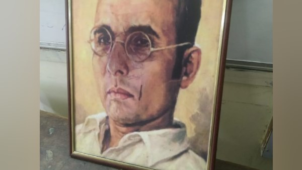 tension in bhu after savarkar photo defaced