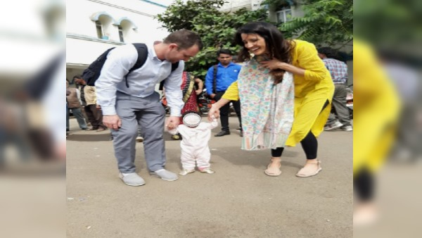 American couple Adopt baby girl from Neemuch Orphanage