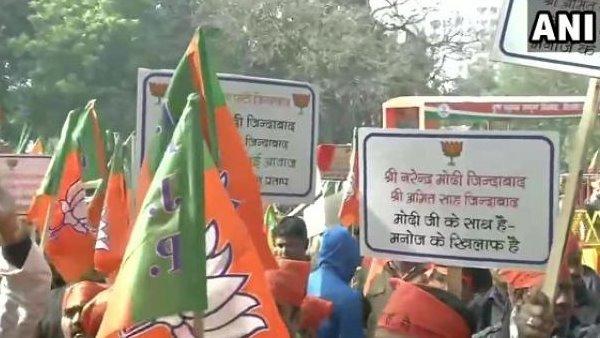 टिकट काटे जाने के बाद BJP में शुरू हुआ विरोध, नड्डा के घर के सामने प्रदर्शन