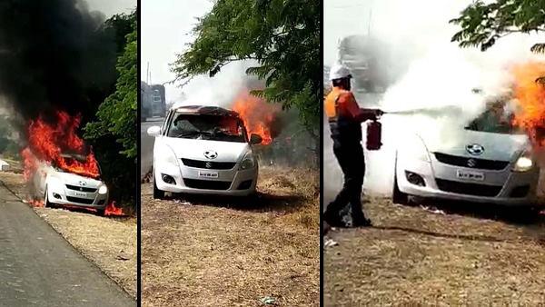 कार में अचानक लगी आग, ऑटो लॉक नहीं खुलने पर ड्राइवर जला जिंदा, देखें VIDEO