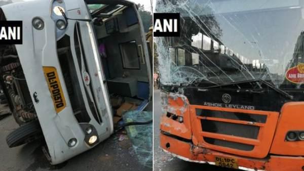 दिल्ली में डीटीसी बस से टकराकर पलटी स्कूल बस, 6 बच्चे घायल