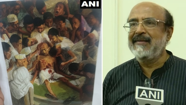 Death of Gandhi painting on cover of kerala govt Budget document