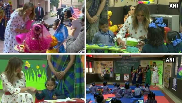 दिल्ली के सरकारी स्कूल में अमेरिका की प्रथम महिला मिलेनिया ट्रंप का हुआ भव्य स्वागत, बच्चों से की मुलाकात