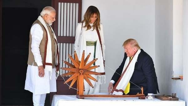 US President Donald Trump spin the Charkha at Sabarmati Ashram writes message in the visitors book