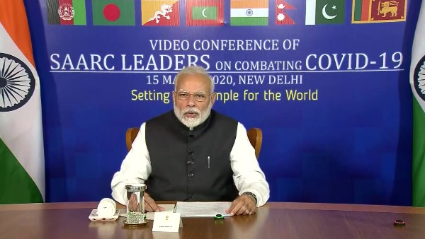 PM Narendra Modi at video conference of all SAARC member countries over coronavirus
