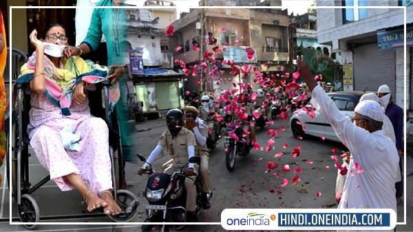भीलवाड़ा : लोगों ने कोरोना योद्धाओं पर बरसाए फूल, व्हीलचेयर पर दादी ने भी बढ़ाया हौसला, देखें तस्वीरें