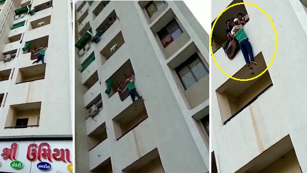 VIDEO: Husband lost self restraint, after fight with wife he hanging in balcony of fourth floor