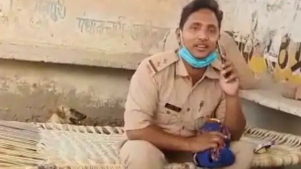 police inspector drinking beer during lockdown in mainpuri