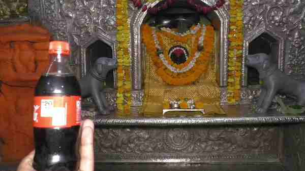 Cold drink for Baba Batuk Bhairav in heat wave in temple of varanasi