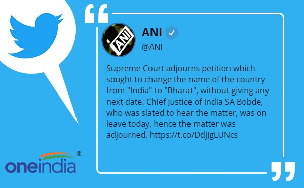 Supreme Court adjourns petition which sought to change name of country from India to Bharat