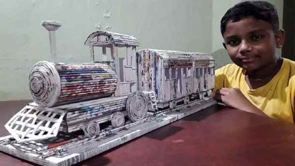 12-year-old child made train from newspaper pages, Railway Ministry also appreciated