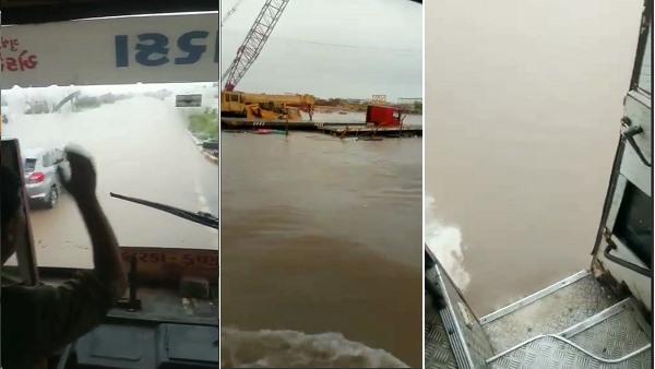VIDEO: भारी बारिश से आई बाढ़ में नदी जैसा बना हाईवे, साहसी ड्राइवर ने यूं निकाली बस