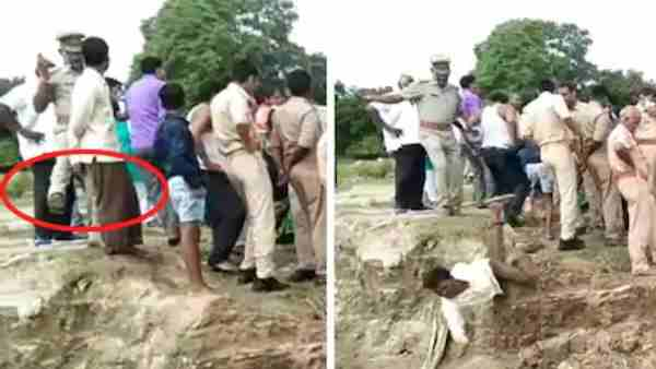 Vindhyachal police inspector kicked a person standing on the banks of river Ganges