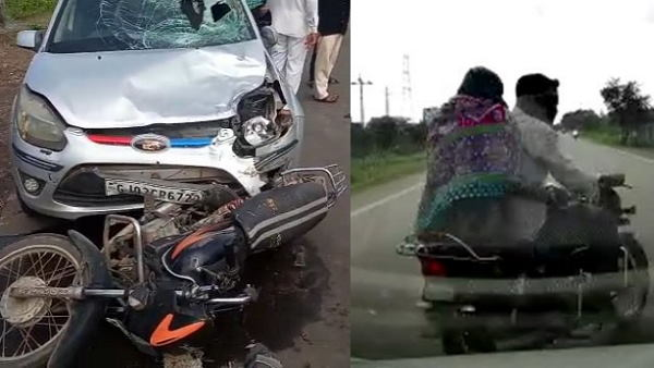 Watch: high speed car hits a bike at gondal road, accident caught in camera, video goes to viral