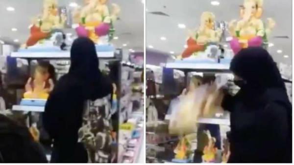 भगवान गणेश की मूर्ति तोड़ते बुर्का पहने महिला का VIDEO वायरल, जानिए पूरा मामला