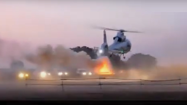 CM Chouhan and Jyotiraditya Scindias helicopter Land in the headlights of vehicles, video viral