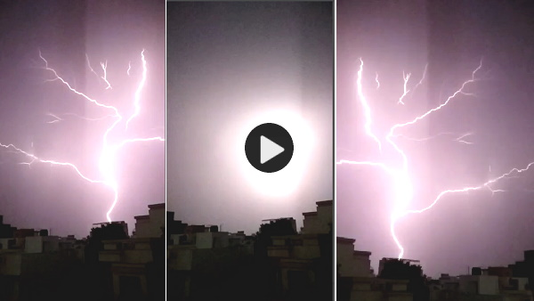amazing: ground to cloud lightning at una taluka gir somnath, video goes to viral