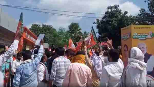 bjp workers protest outside party office besieging deputy cm sushil modi