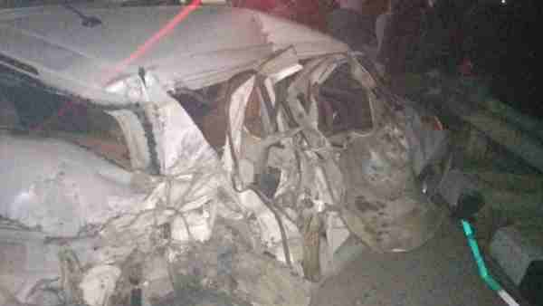 Four people died in a road accident in Bijnor district
