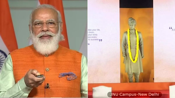 PM Narendra Modi unveils statue of Swami Vivekananda at JNU campus via video conferencing