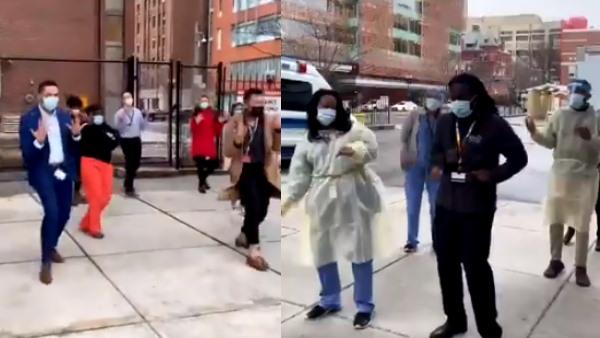 कोरोना वैक्सीन आने की इतनी खुशी, अस्पताल के बाहर ही डांस करने लगे हेल्थ वर्कर्स, धूम मचा रहा ये Video