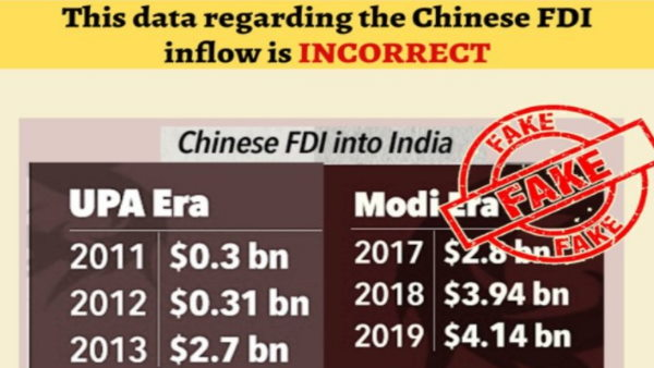 Fact check claim is being made on social media that Chinese FDI into India has increased in modi govt