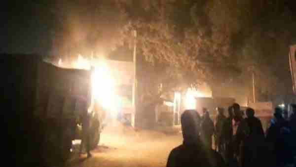 after woman no more in road accident angry villagers burnt 3 dumpers