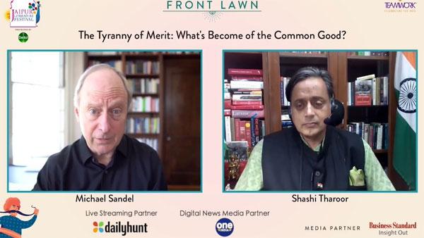 Jaipur Literature Fest: शशि थरूर ने हार्वर्ड के प्रोफेसर सैंडल की नई किताब पर की चर्चा
