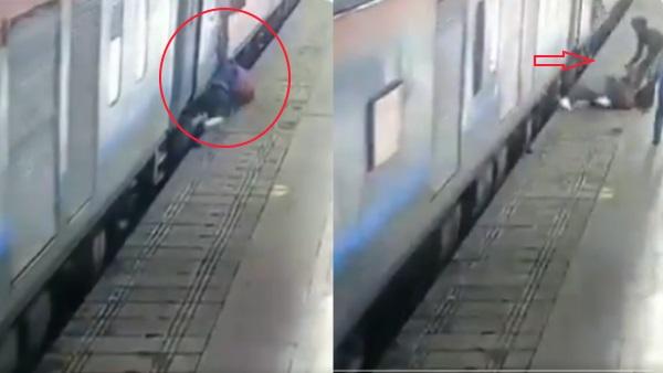 VIDEO: चलती ट्रेन के नीचे आने वाली थी लड़की, मौत के मुंह से यूं खींच लाई महिला सिपाही