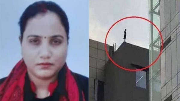 kanpur DMSRDE JE rajni tripathi jumped from building caught on cctv