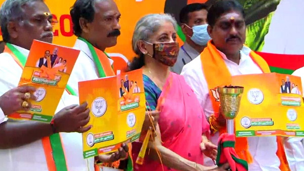 Finance Minister Nirmala Sitharaman release BJP manifesto for upcoming Puducherry assembly elections 2021