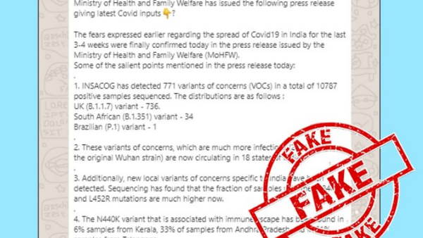 message circulating on WhatsApp enumerating Corona related inputs falsely claiming to be a press release by health Ministry