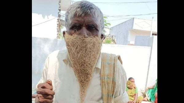 मास्क नहीं खरीद सके तो चिड़िया के घोंसले को मुंह पर लपेट पेंशन लेने पहुंचे गरीब बुजुर्ग, वायरल