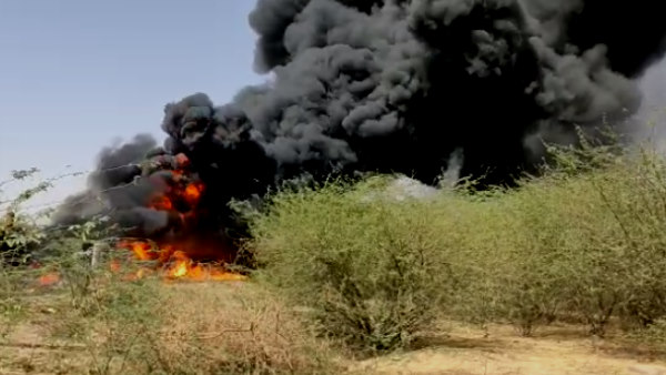fire broke out in a trailer running on mega highway Barmer Rajasthan