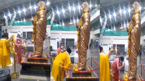 MP: पर्यटन मंत्री उषा ठाकुर ने एयरपोर्ट पर की कोरोना से छुटकारा पाने के लिए पूजा, खुद ही नहीं पहना मास्क