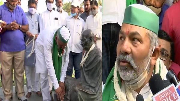 राकेश टिकैत ने गांधी आश्रम में धोक लगाई, कहा- गुजरात का किसान खौफजदा, हम उनका डर निकालने आए हैं