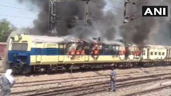 Haryana: Fire broke out in four coaches of a parked train at Rohtak Railway Station