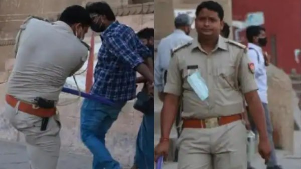 varanasi sub inspector challaned for not wearing face mask and beating people