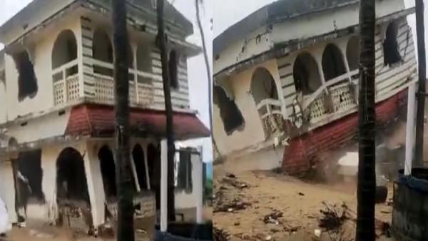केरल में 'तौकते' तूफान का कहर, 10 सेकंड में गिरी दो मंजिला इमारत, देखें वीडियो