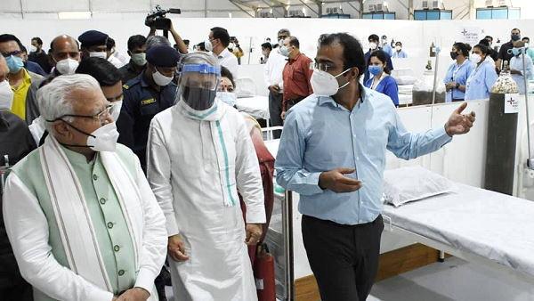 भारतीय वायुसेना द्वारा 300 बेड का कोविड केयर सेंटर गुरुग्राम में बनवाया गया, हरियाणा के मनोहर लाल CM खट्टर ने किया उद्घाटन