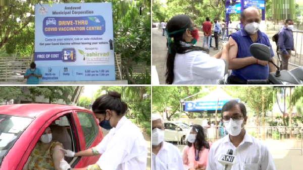 गुजरात में अब लोगों को उनके वाहन में ही वैक्सीन लगाई जा रही, हेल्थवर्कर बोले- किसी भी वाहन में आएं, खुराक लें और आराम से जाएं
