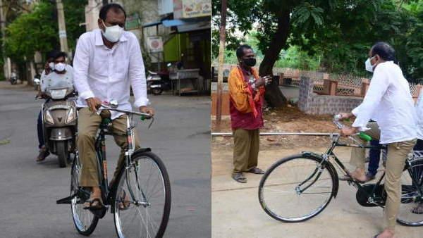 एक विधायक जो साइकिल से ले रहे हैं अपने क्षेत्र में कोरोना का जायजा